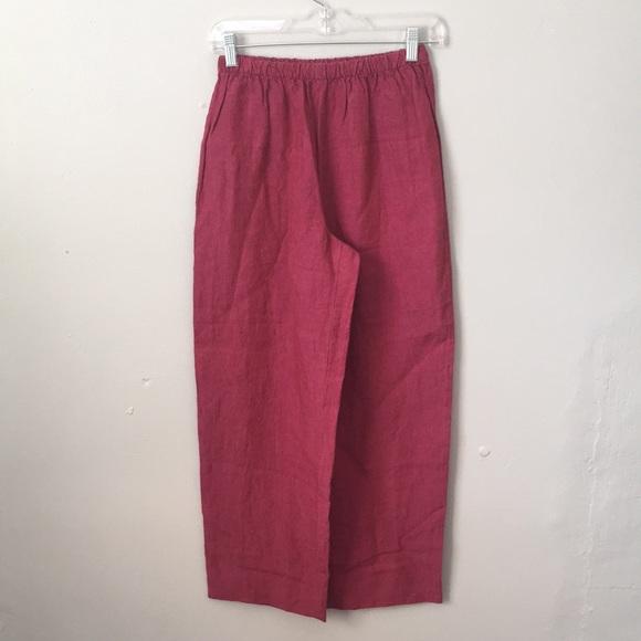0bdb9e5c6083 Eileen Fisher Pants - Eileen Fisher Raspberry Red Irish Linen Pants